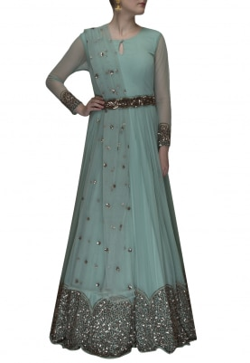 Mineral Blue Embroidered Anarkali and Dupatta