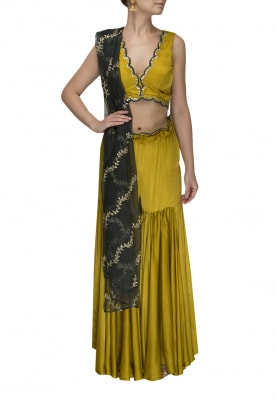 Mustard Embroidered Choli with Scalloped Embroidered Belt Garara and Bottle Green Dupatta