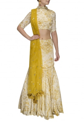 Yellow and White Dyed Crop Top, Fit and Flare Skirt with Yellow Embellished Dupatta