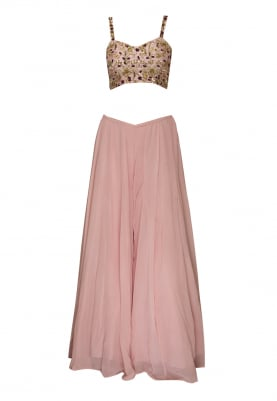 Baby Pink Embroidered Bustier Top with Flared Skirt and Two Tone Dyed and Embroidered Dupatta