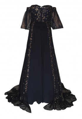 Navy Blue Off-Shoulder Embroidered Trail Jacket with Plain Sharara Pants